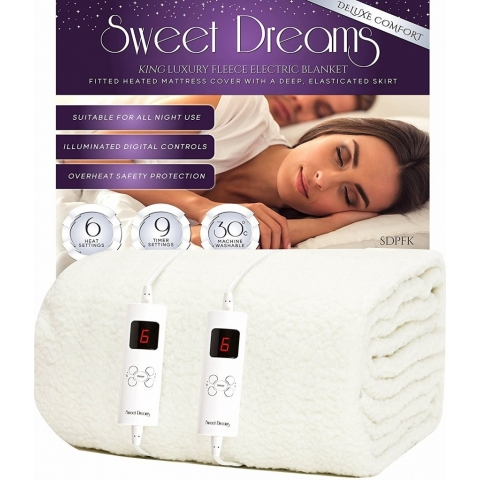 Deluxe Comfort Fully Fitted Fleece King Size Electric Blanket With